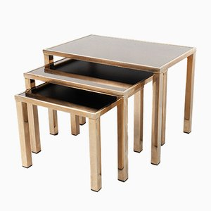 Gold Plated Nesting Tables from Belgo Chrome, 1970s
