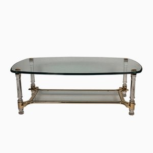 Vintage Oval Coffee Table with Smoked and Beveled Glass Top, Plexi & Gilded Metal Legs
