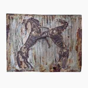 Large Horses Studio Ceramic Wall Relief, 1960s