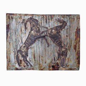 Large Horses Studio Keramik Wandrelief, 1960er