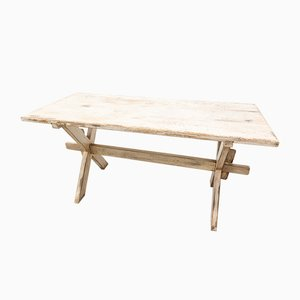 Pine Table with Patina in Rustic White, 1920s