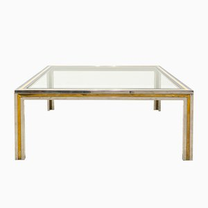 Large Coffee Table in Steel and Brass, 1970s