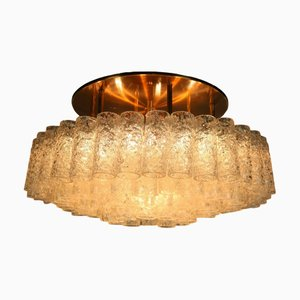 Vintage Glass Tube Flush Mount Chandelier from Doria Leuchten