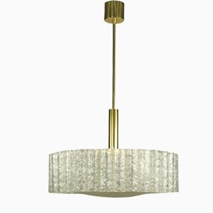 Vintage Tubular Brass and Glass Drum-Shaped Ceiling Lamp from Doria Leuchten, 1960s