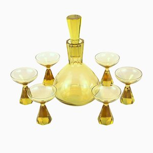 Art Deco Decanter and Glasses Set from Val Saint Lambert, 1930s, Set of 7