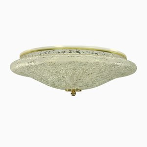 Mid-Century Discus-Shaped Glass Flush Mount Ceiling Lamp from Doria Leuchten, 1960s