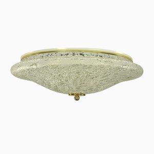 Mid-Century Discus-Shaped Glass Flush Mount Ceiling Lamp from Doria Leuchten, 1960s