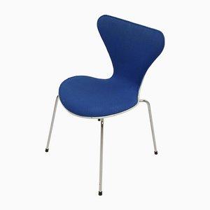 Sedia da scrivania o da cucina serie 7 blu di Arne Jacobsen per Fritz Hansen, anni '80