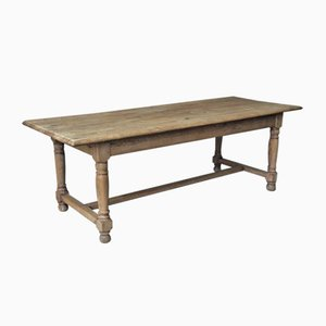 Antique Rustic French Bleached Oak Farmhouse Dining Table