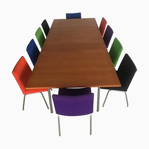 Conference Table in Teak & Metal with Airport Chairs by Hans J. Wegner for Andreas Tuck, 1960s, Set of 26