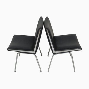 Airport Chairs in Black by Hans J. Wegner for A.P. Stolen, 1960s, Set of 2