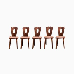 Brutalist Elm Dining Chairs by Olavi Hanninen, 1960s, Set of 5