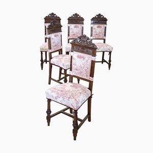 Antike Geschnitzte Nussholz Esszimmerstühle, 5er Set