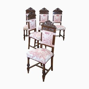 Antique Carved Walnut Dining Chairs, Set of 5