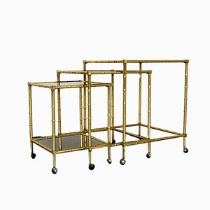 Italian Faux Bamboo and Gilded Brass Nesting Bar Cart, 1960s