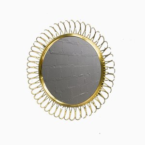 Small Spiral Brass Mirror, 1950s