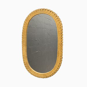 Vintage Italian Wicker Wall Mirror, 1960s