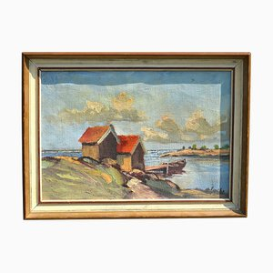 Fishing Cabins and Boat Oil Painting on Canvas by Nils Golbe, 1930s