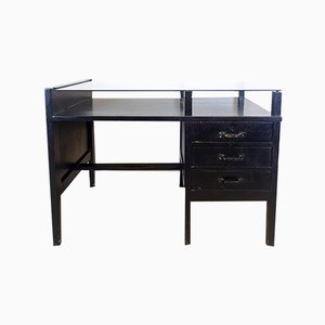 Vintage Black Desk with Glass Top, 1970s