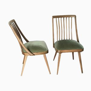 Upholstered Dining Chairs Cherry Wood with Rung Backrest, 1950s, Set of 6