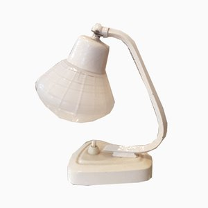 White Table Lamps, 1950s, Set of 2