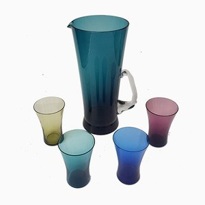 Juice Jug with Colored Glasses from Friedrich Glas, 1960s, Set of 5