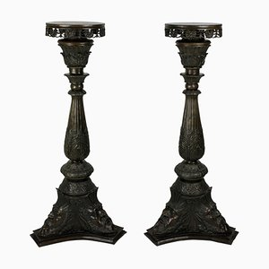 Antique Italian Bronze Torchiere Pedestals, Set of 2