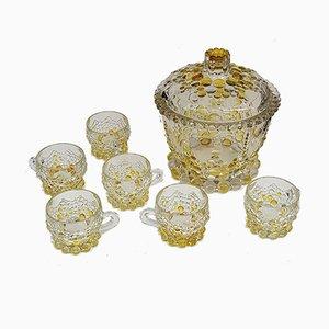 Set di scodelle in cristallo di Boemia, anni '70, set di 7