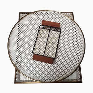 Trays and Serving Rack in the Style of Mathieu Mategot, 1950s, Set of 3