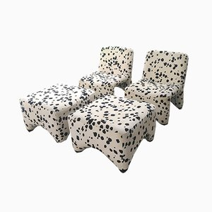 Mid-Century Lounge Chairs and Ottomans Set, 1960s, Set of 4