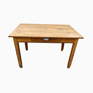 Oak Farm Dining Table with Drawer, 1950s