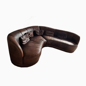 Vintage Leather Lounge Banana Sofa from Sofitalia
