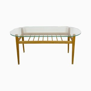 Mid-Century Israeli Wood and Glass Coffee Table, 1950s