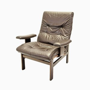 Vintage Leather and Black Rosewood Lounge Chair