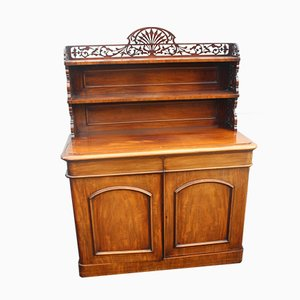 Antique Carved Mahogany Chiffonier with Back Sideboard, 1890s