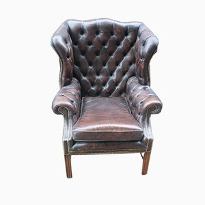 Brown Leather Wing Buttoned Back Armchair in Horsehair, 1980s