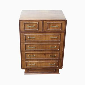 Small Art Deco Walnut Chest of Drawers 2 over 4, 1930s