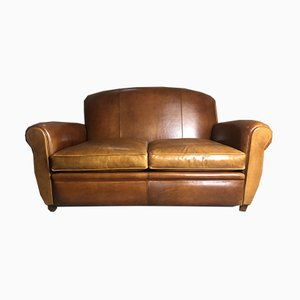 Vintage 2-Seat Club Sofa in Camel-Color Leather, 1980s