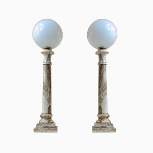 Italian Marble Column Table Lamps from Onyx Art, 1970s, Set of 2