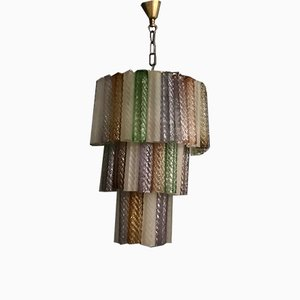 Large Mid-Century Multicolored Murano Glass Chandelier by Paolo Venini for Murano, 1970s