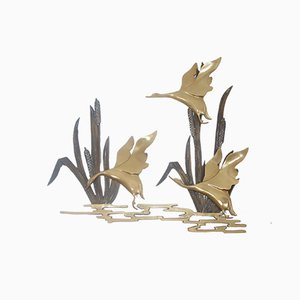Mid-Century Copper Ducks Flying from the Reeds Wall Sculpture