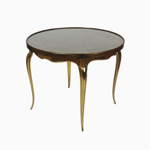 Bronze and Glass Pedestal Table, 1950s