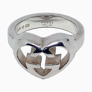 Love Britt Sterling Silver Interlocking Heart Ring by Gucci, 1997