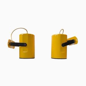 Skandinavische Gelbe Wandleuchten von Kosta Lampan, 1970er, 2er Set