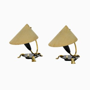 MId-Century Table Lamps in Brass and Plexiglass with Fabric Shades, 1950s, Set of 2