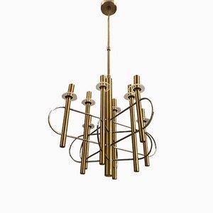 Lámpara de araña Mid-Century de latón y metal cromado de Gaetano Sciolari, años 70