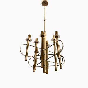 Mid-Century Brass and Chrome Chandelier by Gaetano Sciolari, 1970s