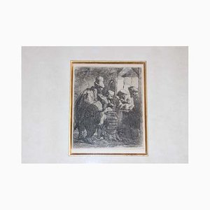 The Strolling Musicians Etching from Rembrandt Harmenszoon Van Rijn