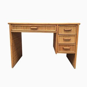 Vintage Bamboo and Rattan Desk, 1970s