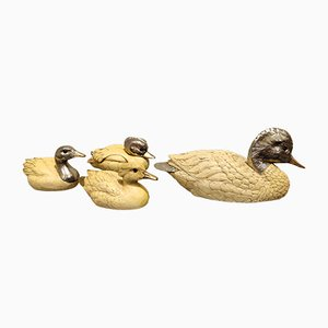 Silver-Plated Duck Sculptures by Malevolti, 1960s, Set of 2